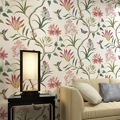 Árvores/Folhas Decoração para casa Moderna Revestimento de paredes, Papel não tecido Material adesivo necessário papel de parede,