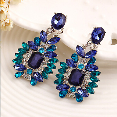 Žene Viseće naušnice Luksuz Sintetički gemstones Kubični Zirconia Legura Jewelry Plava Nakit odjeće