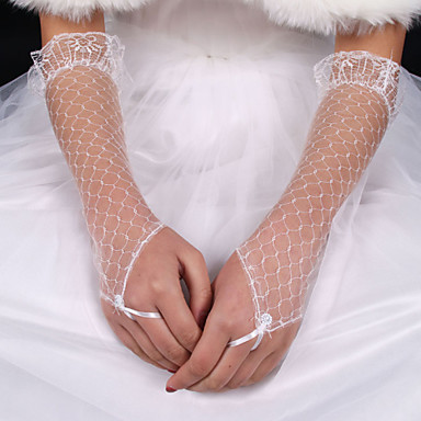 Selyem Elasztikus szatén Könyökön felül Kesztyű Menyasszonyi kesztyűk With Csokor