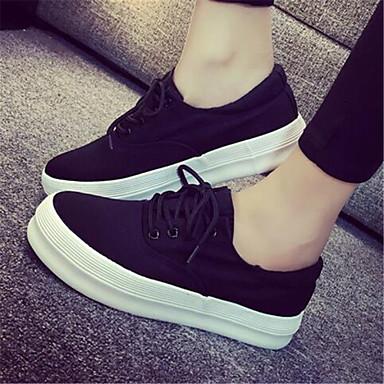 패션 스니커즈-캐쥬얼-여성의 신발-둥근 앞코-패브릭-플랫-블랙 / 레드 / 화이트