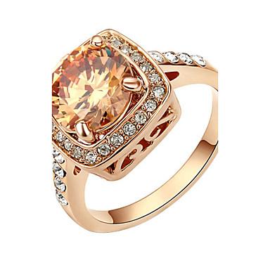 Cristal Anel - Imitações de Diamante Luxo, Pedras dos signos Vermelho / Champanhe Para Festa