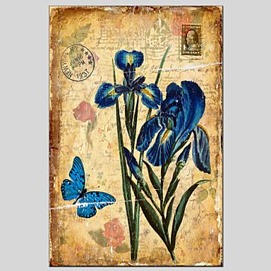 מצויר ביד פרחוני/בוטנימודרני / קלאסי / מסורתי / סגנון ארופאי פנל אחד בד ציור שמן צבוע-Hang For קישוט הבית