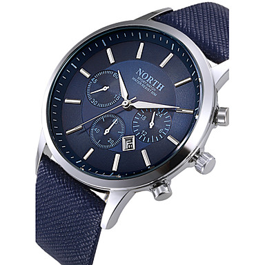 Herrn Armbanduhr Kleideruhr Modeuhr Quartz Kalender Leder Band Cool Schwarz Weiß Blau