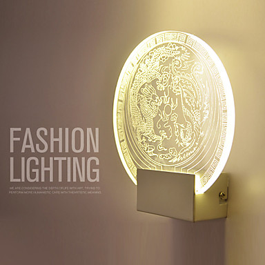 3D Chinese Culture Theme Design Dragon Phoenix Playing with a Pearl Wall Lamp 5W Art Lighting Round Shape Porch Lamp