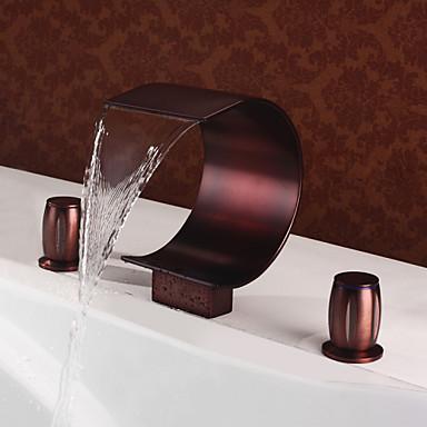 Antik Bateria nablatowa Şelale Seramik Vana Üç Delik İki Kolları Üç Delik Yağlı Bronz , Küvet Muslukları Banyo Lavabo Bataryası