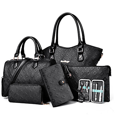 Women Bags PU Shoulder Bag Tote Satchel Clutch Bag Set 6 Pieces Purse Set for Shopping Casual Formal Office & Career All Seasons Gold