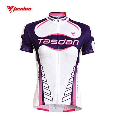TASDAN בגדי ריקוד נשים שרוולים קצרים חולצת ג'רסי לרכיבה אופניים ג'רזי / מדים בסטים, ייבוש מהיר, עמיד אולטרה סגול, נושם