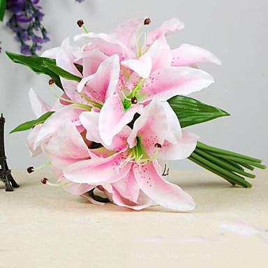 Flores artificiais 1 Ramo buquês de Noiva Lírios Flor de Mesa