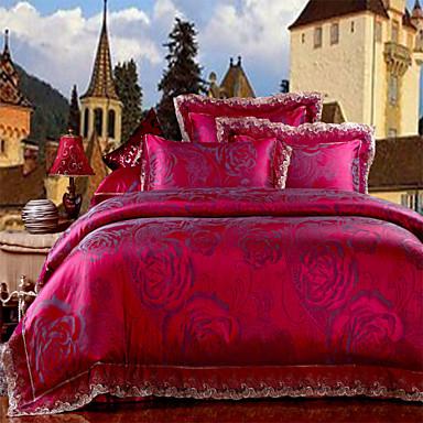 Az új lista ágynemű rózsa piros virágos paplanhuzat selymesen lágy ágynemű forró lakástextil 4db queen king size