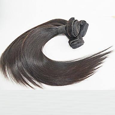 Cabelo Humano Cabelo Brasileiro Cabelo Humano Ondulado Liso Extensões de cabelo 3 Peças Preto