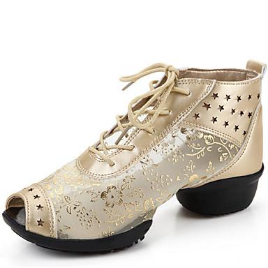 여성 댄스 스니커즈 레이스 가죽 샌달 스플리트 밑창 야외 레이스-업 낮은 굽 블랙 실버 골드 4.5cm 주문제작 불가능