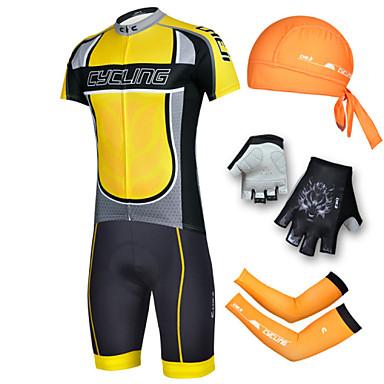 cheji® Muškarci Kratkih rukava Biciklistička majica s kratkim hlačama - Crn Bicikl Kratke hlače Biciklistička majica Kompleti odjeće, Pad