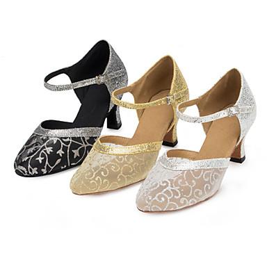 Dame Moderne sko Blonder / Paljett / Sateng Sandaler / Høye hæler Paljett / Spenne / Blomst Kustomisert hæl Kan spesialtilpasses Dansesko Sort og Gull / Sølv / Gull / Innendørs / Ytelse / Trening
