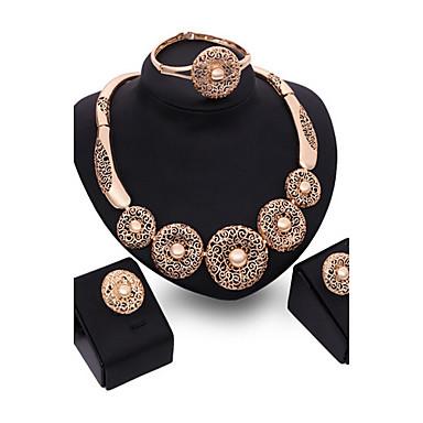 בגדי ריקוד נשים משובץ זהב ורוד סט תכשיטים לִכלוֹל צמיד עגילים שרשראות טבעת - וינטאג' מסיבה אופנתי זירקוניה מעוקבת משובץ זהב ורוד סט