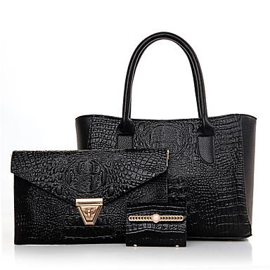 女性用 バッグ PU バッグセット 3個の財布セット のために イベント/パーティー カジュアル オールシーズン ブラック レッド ブルー ゴールデン
