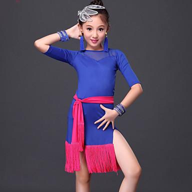 Dança Latina Vestidos Crianças Actuação Fibra de Leite 3 Peças Vestido Cinto Calções