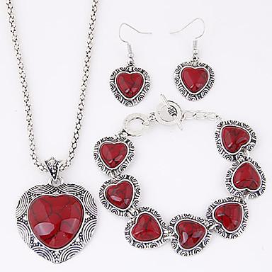 Takı Seti Aşk Avrupa lüks mücevher Reçine Turkuaz alaşım Heart Shape Kırmzı Mavi Kolyeler Kolczyki Bilezik Için Parti Günlük 1setDüğün