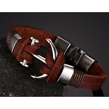 Herrn Ketten- & Glieder-Armbänder - Leder Armbänder Braun Für Weihnachts Geschenke / Party / Alltag