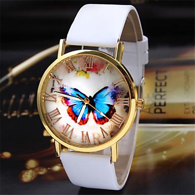 Damen Armbanduhr Quartz Schlussverkauf PU Band Analog Schmetterling Modisch Schwarz / Weiß / Braun - Weiß Schwarz Kaffee / Edelstahl