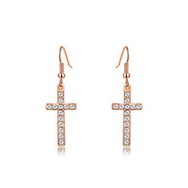 Pisarakorvakorut ylellisyyttä koruja Cubic Zirkonia jäljitelmä Diamond Metalliseos Cross Shape Hopea Ruusukulta Korut Varten 2pcs