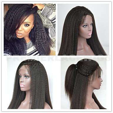 Gerçek Saç Komple Dantel Ön Dantel Peruk Düz Kinky Düz % 130 % 150 % 180 Yoğunluk % 100 Elle Bağlanmış Afrp Amerikan Peruk Doğal saç