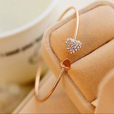 Kadın's Bilezikler Halhallar Kalp sevimli Stil Moda Ayarlanabilir minimalist tarzı Yapay Elmas Kalp Mücevher Düğün Parti Hediye Günlük