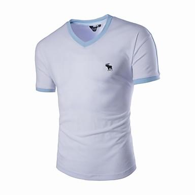 남성 솔리드 줄무늬 V 넥 짧은 소매 티셔츠,단순한 활동적 스포츠 데이트 캐쥬얼/데일리 면 레이온 여름 얇음