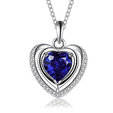 Mulheres Cristal Colares Declaração - Zircônia Cubica Luxo, Amor, Fashion Azul Colar Para
