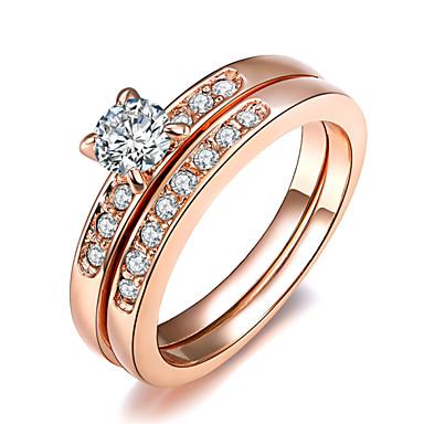 בגדי ריקוד נשים קריסטל יהלום מדומה סגסוגת טבעת הצהרה - ארבע שיניים קלסי אופנתי כסף מוזהב טַבַּעַת עבור חתונה Party