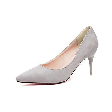 Feminino Sapatos Flanelado Primavera Verão Outono Saltos Salto Agulha para Casual Social Preto Cinzento Fúcsia Rosa claro