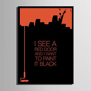 E-HOME® Framed Canvas Art, Paint It Black Letter Series Framed Canvas Print One Pcs