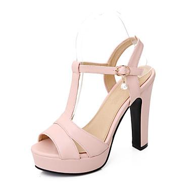 Žene Cipele Umjetna koža Ljeto Kockasta potpetica Platformske cipele Umjetni biser Kopča za Kauzalni Ured i karijera Formalne prilike Bež