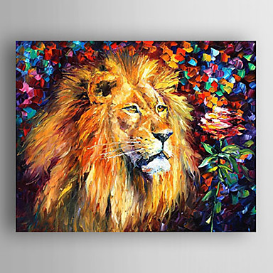 Oil Painting Impression Lion Hand Painted Canvas with Stretched Framed Ready to Hang