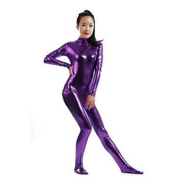 Zentai Drakter Ninja Zentai Cosplay-kostymer Lilla Ensfarget Trikot / Heldraktskostymer Zentai Spandex Skinnende Metallisk Herre Dame Halloween / Høy Elastisitet
