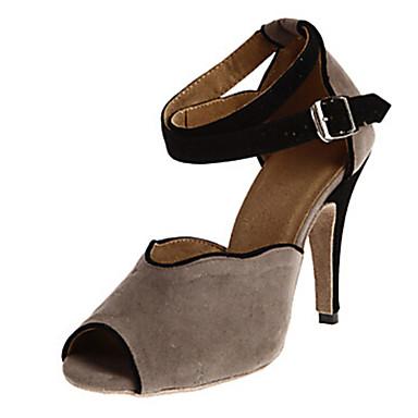Women's Latin Shoes / Salsa Shoes / Samba Shoes Flocking Sandal / Heel Indoor / Performance / Practice Buckle Customized Heel Customizable