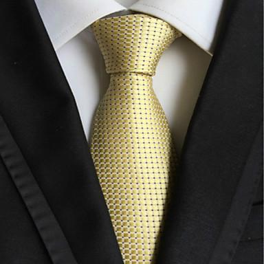 miesten muoti vaalea kultainen tarkastettu jacquard kudottu solmio solmio