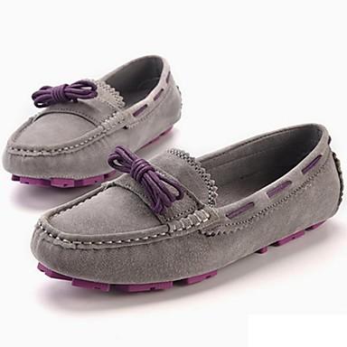 Mulheres Sapatos Pele Napa Primavera / Outono Conforto Sapatos de Barco Sem Salto Cadarço Cinzento / Castanho Claro / Festas & Noite