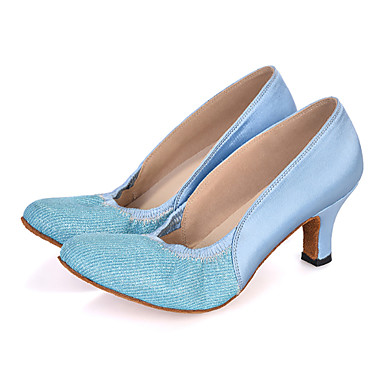 Damen Schuhe für modern Dance Glitzer / Satin Sandalen / Absätze / Sneaker Glitter / Gerafft Keilabsatz Maßfertigung Tanzschuhe Rosa / Lila / Hellblau / Leistung