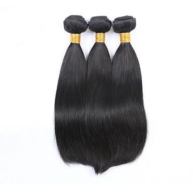 Cabelo Humano Cabelo Malaio Cabelo Humano Ondulado Liso Extensões de cabelo 3 Peças Preto