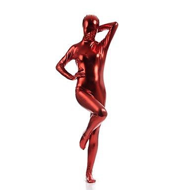 Skinnende Zentai Drakter Catsuit Huddrag Ninja Voksne Cosplay-kostymer Rød Ensfarget Spandex Skinnende Metallisk Herre Dame Halloween / Høy Elastisitet