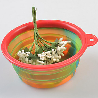 tigelas de gato / cão& garrafas de água pet bowls& alimentação dobrável multicolor / silicone
