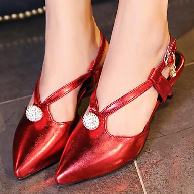 בגדי ריקוד נשים נעליים דמוי עור קיץ רצועה אחורית עקב קצר ל משרד קריירה שמלה מסיבה וערב כסף אדום ירוק ורוד מוזהב
