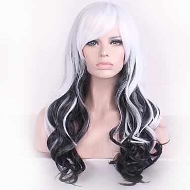 Synteettiset peruukit Laineita Naisten Suojuksettomat Pitkä Synteettiset hiukset