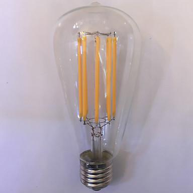 1 kom. kwb E26/E27 10W 8 COB 1000 lm Toplo bijelo / Jantarno ST64 edison Vintage LED filament žarulje AC 85-265 V