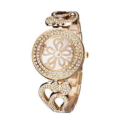 Dame Quartz Japansk Quartz Armbåndsur Japansk Hul Inngravering Imitasjon Diamant Rustfritt stål Band Elegant Mote Sølv Gylden Rose Gull