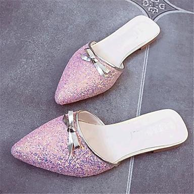 Ženske cipele-Papuče-Ležerne prilike-Umjetna koža-Ravna potpetica-Udobne cipele-Crna / Ružičasta / Bijela