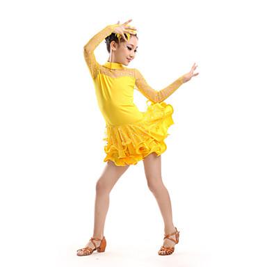 sopiiko Latinalainen tanssi lapsia suorituskykyistä polyesteriä / tylli strassit pukee tanssi puvut