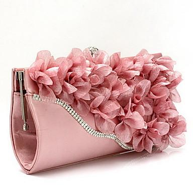 voordelige Handtassen voor bruiloft-Dames Tassen Chiffon Avondtasje Bloem Zilver / Fuchsia / Roze
