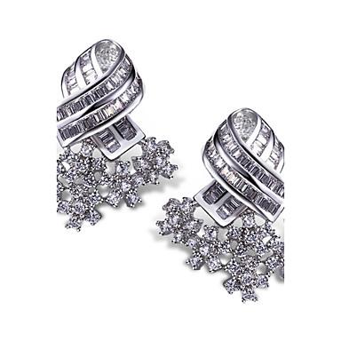 Sitne naušnice Viseće naušnice Moda Zircon Kubični Zirconia Platinum Plated Obala Jewelry Za 2pcs