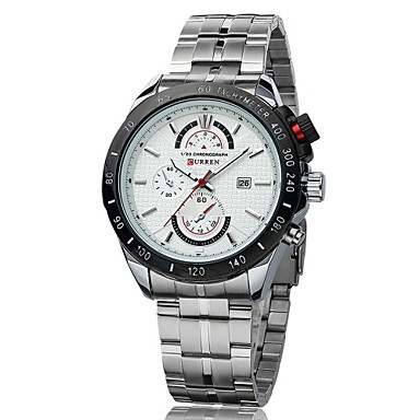 CURREN Men's Dress Watch Calendar / date / day / Water Resistant / Water Proof Stainless Steel Band Silver / Two Years / Maxell SR626SW